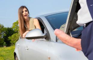 Image Da las gracias al conductor dándole a probar su culo al aire libre