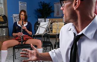 Image Colegiala tetona deja la flauta y seduce al profesor de música