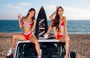 Image Gina Valentina y su amiga terminan el día de playa con un trío