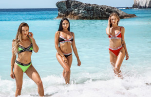 Image Ariana Marie y sus amigas comparten polla en medio de la playa